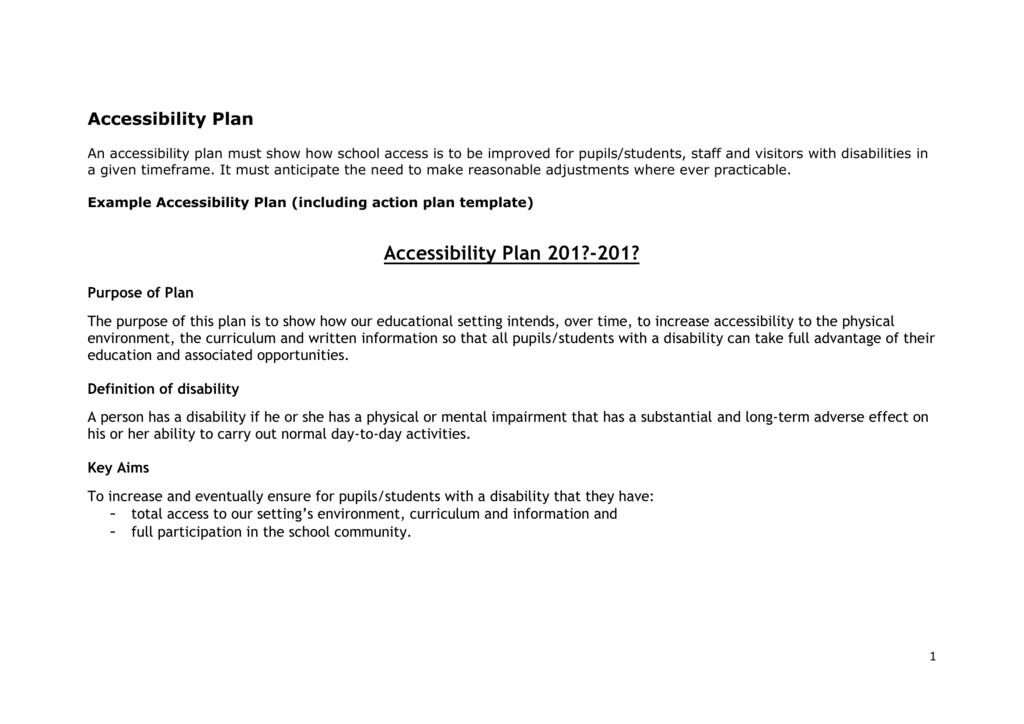 Example accessibility plan and template (.doc)