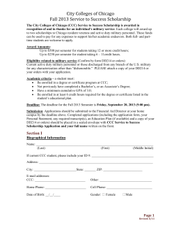 City Colleges of Chicago General Scholarship Application