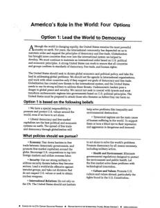 US Role in the World Assignment