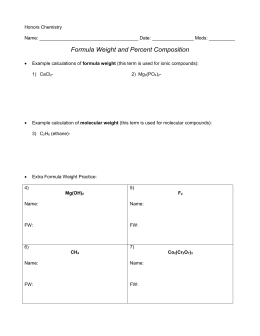 Formula & Percent Composition Packet