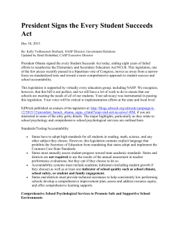 President Signs the Every Student Succeeds Act