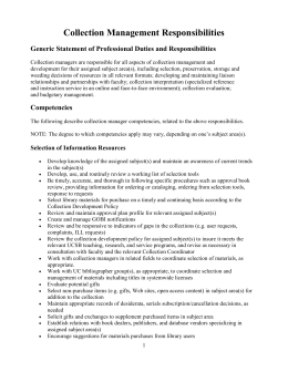 Generic Statement of Professional Duties and Responsibilities