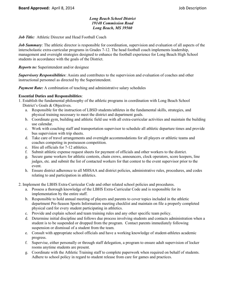 Athletic Director Job Description | Athletic Director Head Football Coach