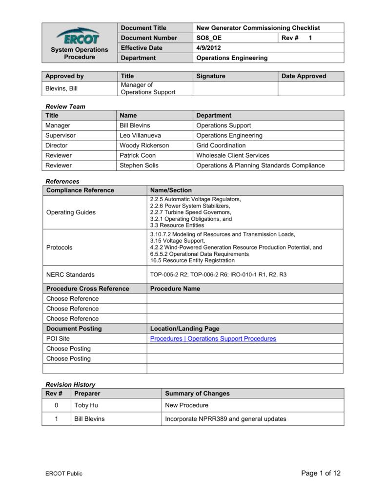 So8 Oe New Generator Commissioning Checklist