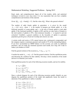 Mathematical Modeling | Suggested Problems * Fall 2007