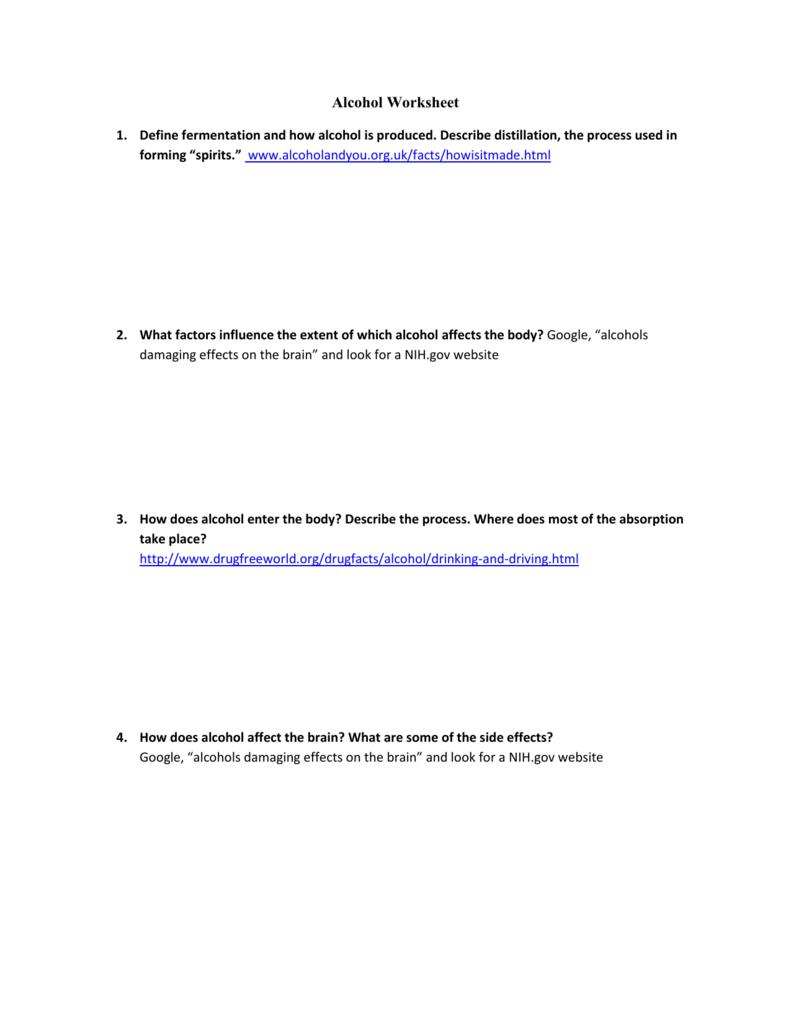worksheet Affect Effect Worksheet alcohol worksheet lesson 1