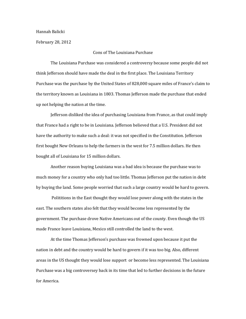 Louisiana purchase argument essay