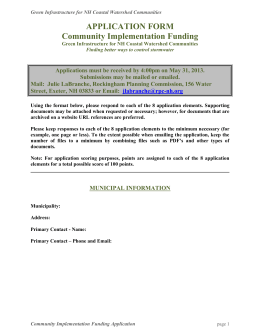Application Form - Southeast Watershed Alliance
