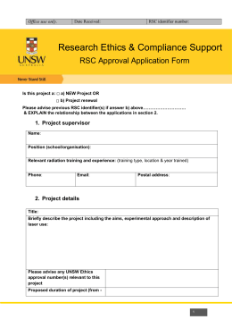 RSC Approval Application Form for Lasers