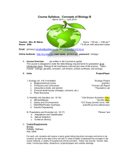 Course Syllabus: Biology B - Gull Lake Community Schools
