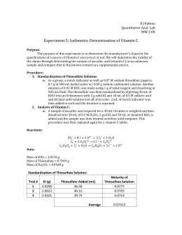 ascorbic acid redox titration lab report Angelica rodriguez 05/14/13 period 4 acid-base crime scene titration introduction: documents similar to titration lab report chem ia redox titration of iron.