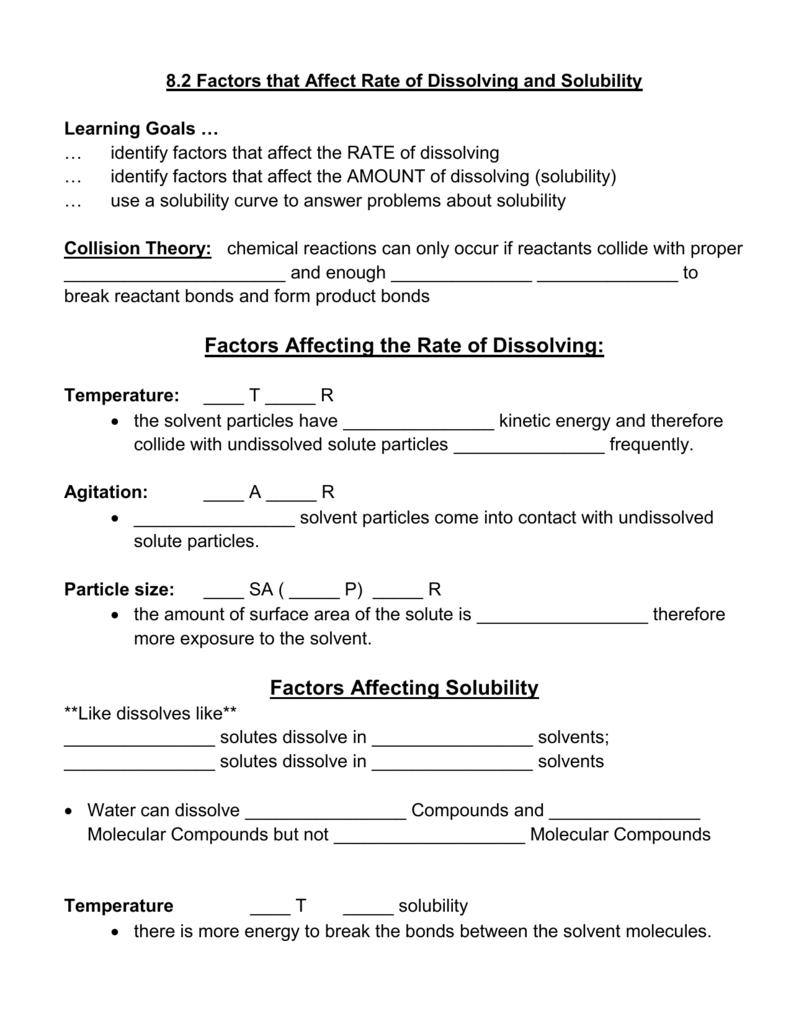 worksheet Factors Affecting Solubility Worksheet factors affecting the rate of dissolving