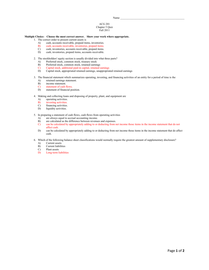 Answer Key Chap 5 Quiz