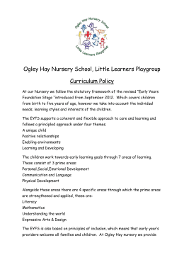 Curriculum Policy Ogley Hay Nursery School