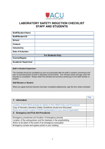 laboratory safety induction checklist staff and students