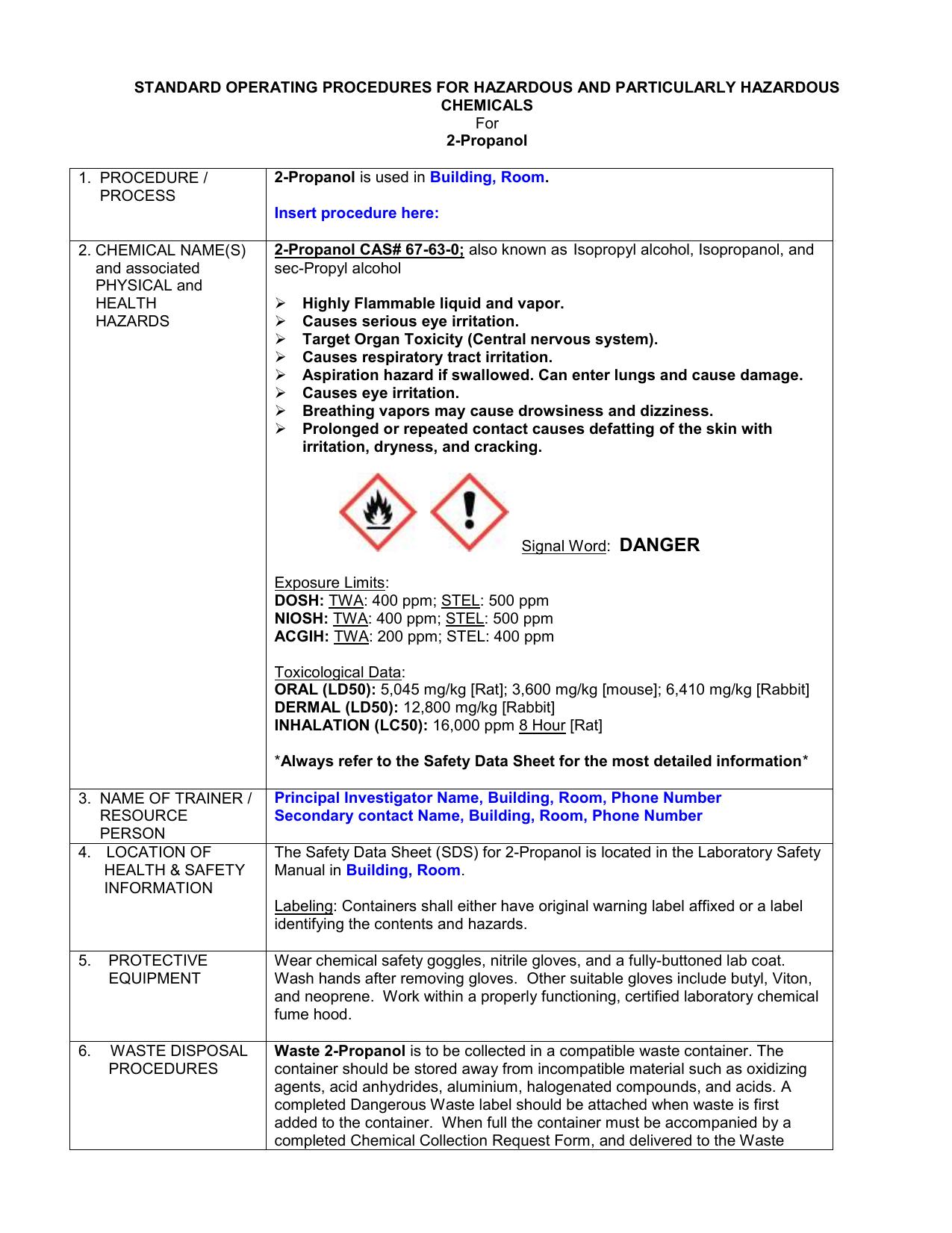 2-Propanol - WSU Environmental Health & Safety
