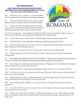 Lectures for Year of Romania