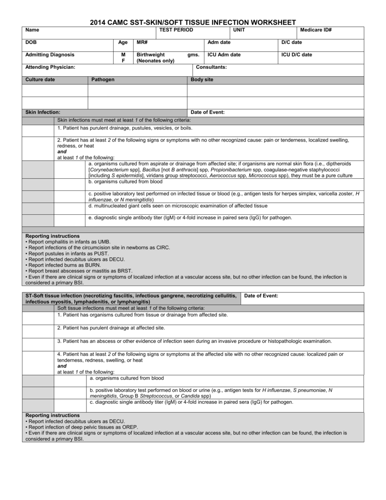 NOSOCOMIAL INFECTION WORKSHEET