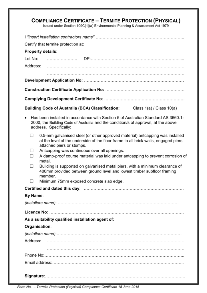 Termite Protection Physical Compliance Certificate Template