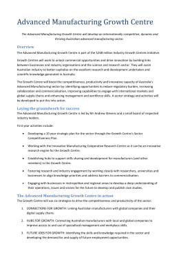 Industry Growth Centre Advanced Manufacturing factsheet