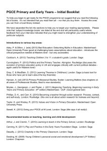 PGCE Primary and Early Years * Initial Booklist