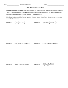 Workbook 1 - Solving Linear Equations