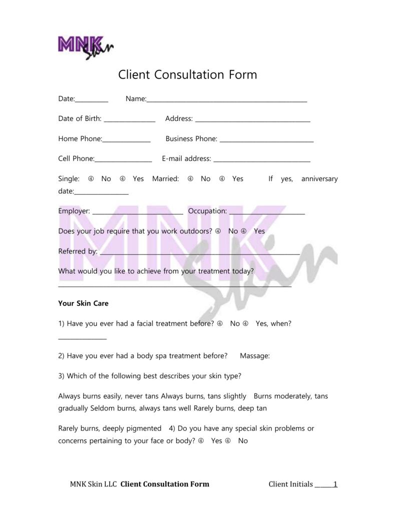 Client Consultation Form Client Consultation Form Date:______