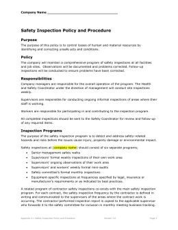 Safety Inspection Policy and Procedure