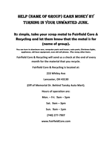 Flyer to handout - Fairfield Core & Recycling