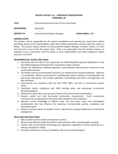Environmental Construction Permit Coordinator Job Description