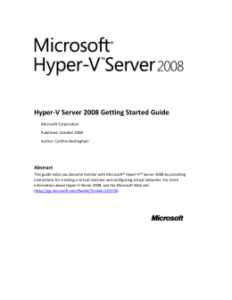 Hyper-V Server 2008 Getting Started Guide