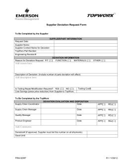 Form P-101 Accuride Corporation Supplier Deviation Request