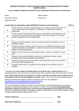 Research Integrity Form for Undergraduate Student Dissertations