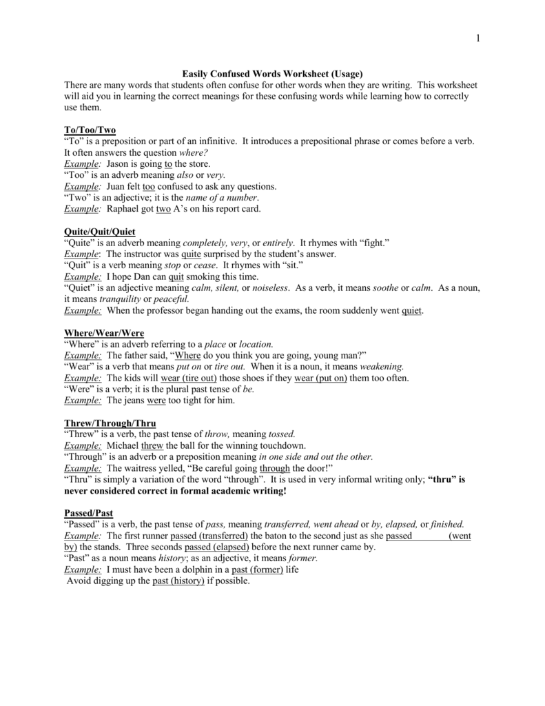 4 Commonly Confused Words Worksheet 1 – To Too Two Worksheet