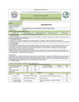Course: BIOREMEDIATION Course id: 3МЗИ1И09 Number of ECTS