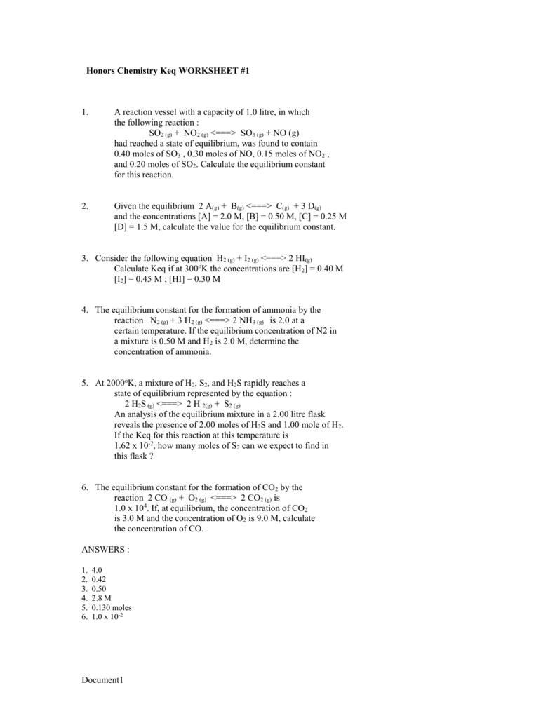 Worksheets Equilibrium Constant Worksheet honors chemistry keq worksheet 1