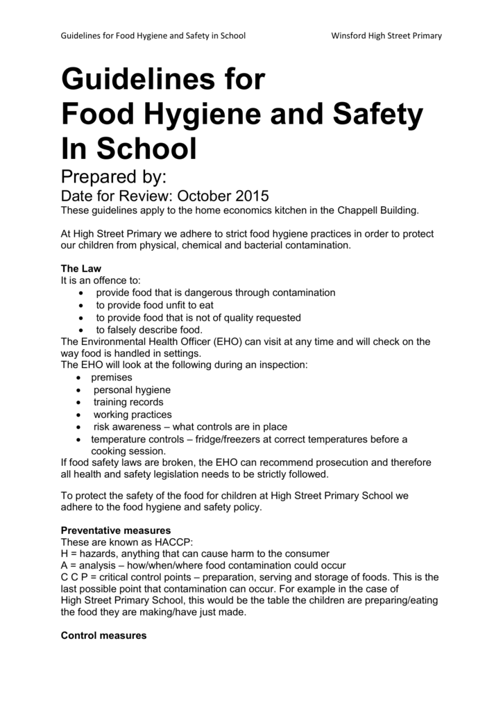 Food Safety Policy Winsford High Street Primary School
