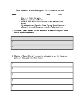 First Session: Kuder Navigator Worksheet 9th Grade