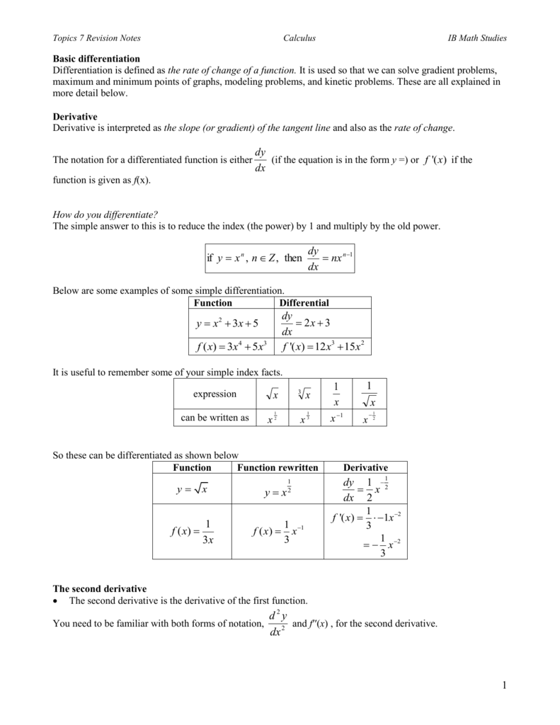 ib math studies unit 7 review notes