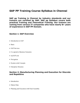 SAP PP Training Course Syllabus in Chennai