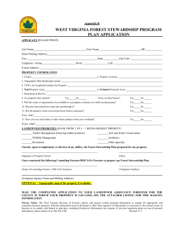 plan application - West Virginia Division of Forestry