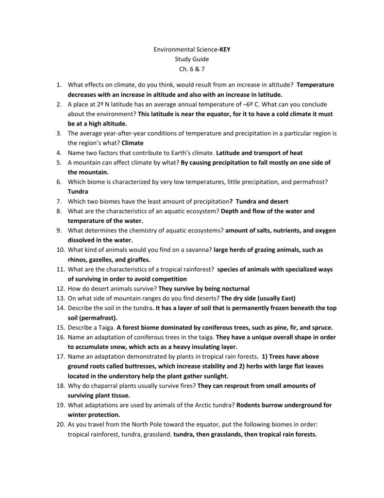 env sci study guide ch 6 7 rh studylib net aquatic ecosystems study guide answers 4.5 aquatic ecosystems study guide answers