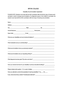 the Application for Accommodations