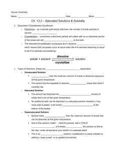 Ch. 13.2 – Saturated Solutions & Solubility
