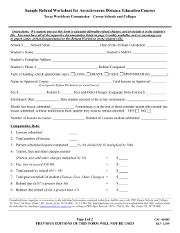 Sample Refund Worksheet for Correspondence Courses