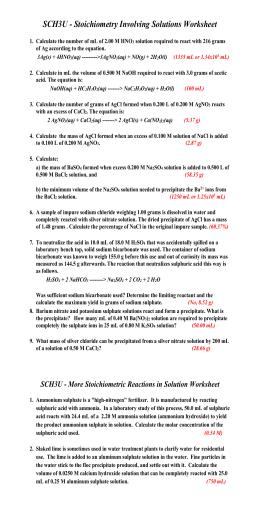 Dilutions Worksheet - 11U-Chem