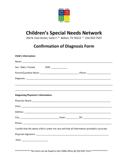 Confirmation of Diagnosis Form