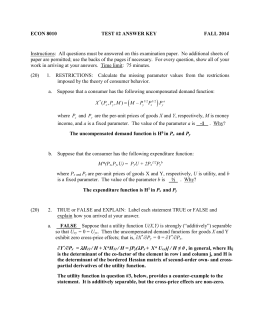 ECON 8010 TEST #2 ANSWER KEY FALL 2014 Instructions: All