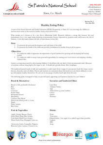 Healthy Eating Policy - St. Patrick`s NS, Slane