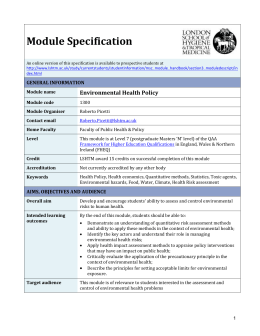 1300 Environmental Health Policy Module Specification